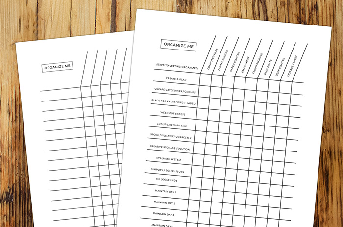 Free 'organize me' chart to help you focus in the workplace.