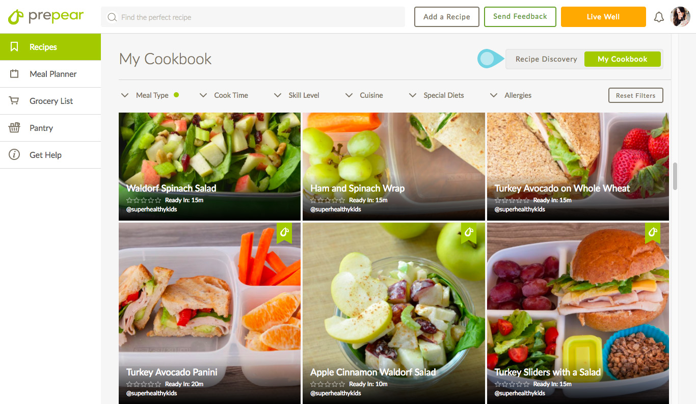 Meal Planning With Prepear - the cookbook