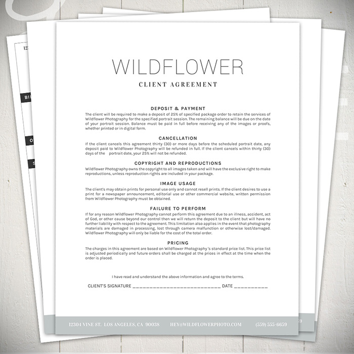 Photography Forms & Contracts - The Wildflower Collection