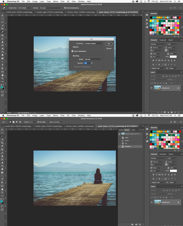 How to get rid of unwanted objects with Photoshop's content-aware fill tool