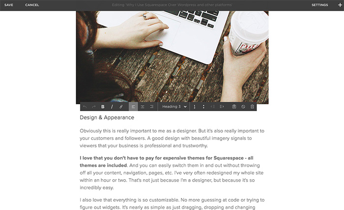 Squarespace Blog Editing View