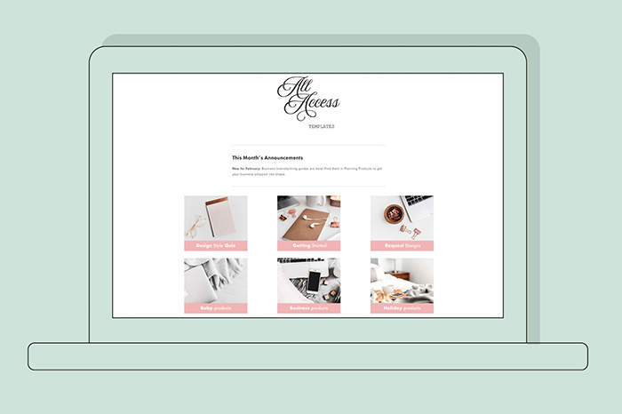Photoshop Template Membership - All Access Templates Dashboard. Get the entire Laurie Cosgrove Design Shop