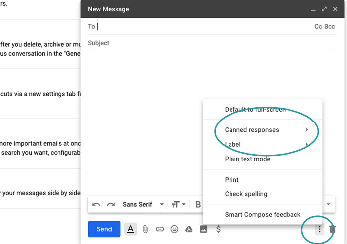 Email canned responses in Gmail