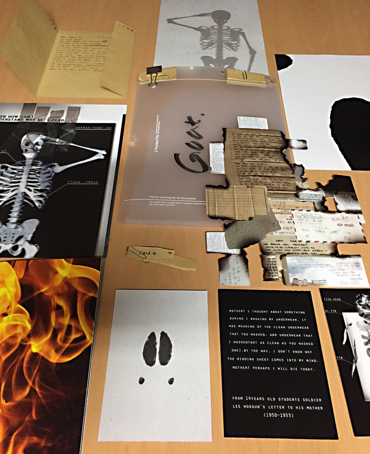 RESEARCH, DESIGN, AND PACKAGE A TOPIC   The soldier as scapegoat brilliantly conceived, researched, designed, and packaged by first-year student    Min Ju Song    at Yeungnam University, South Korea.
