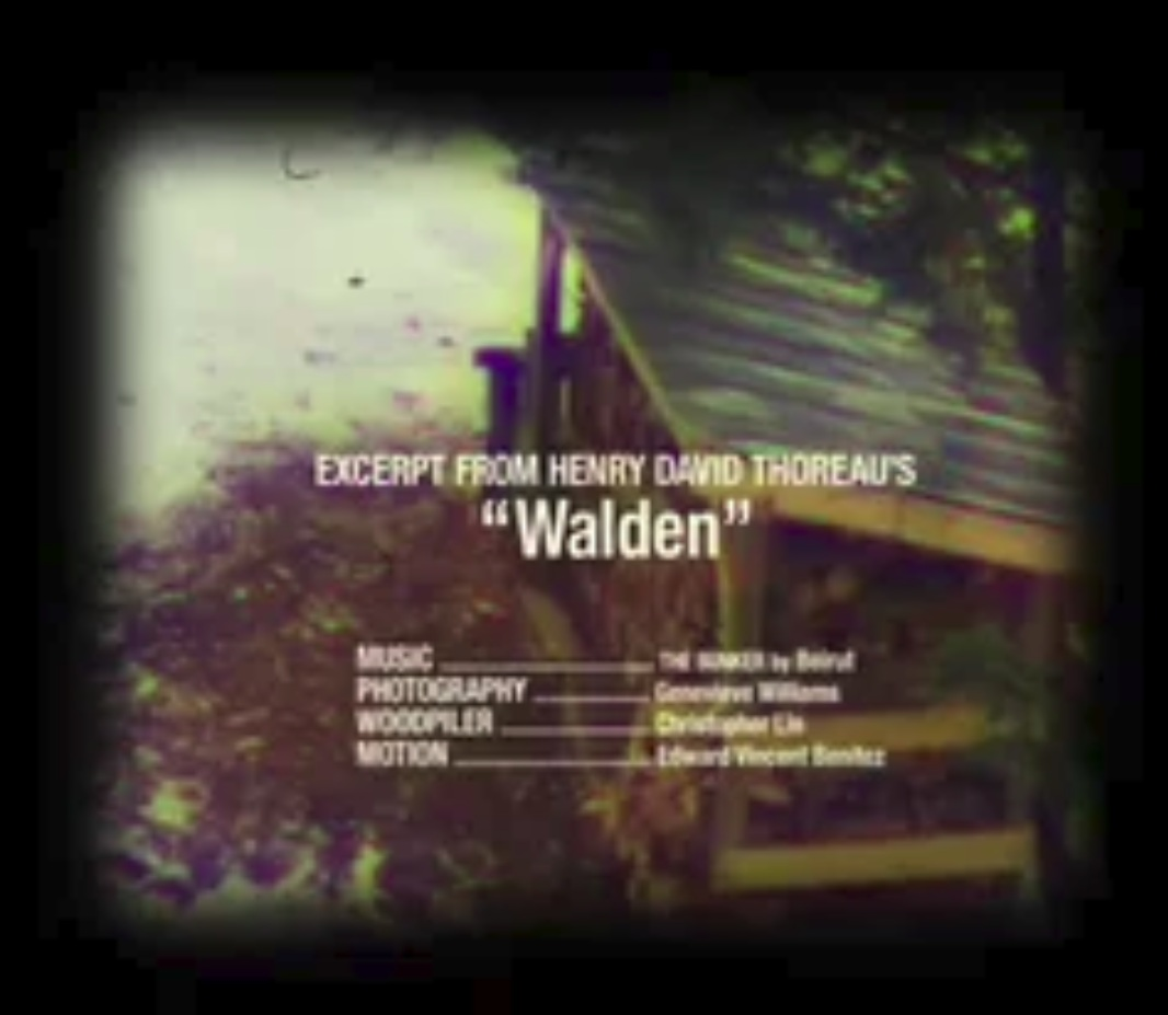 """""""WALDEN"""" A SHORT VIDEO ABOUT COUNTRY LIVING""""WALDEN"""" A SHORT VIDEO ABOUT COUNTRY LIVING   During a cold weekend at the cabin, Chris and I stacked a new delivery of wood. I documented the process.    Ed Benitez    created this wonderful, experimental footage from those shots and Thoreau's Walden for junior typography. Click this link to view the video    https://vimeo.com/182126184   ."""