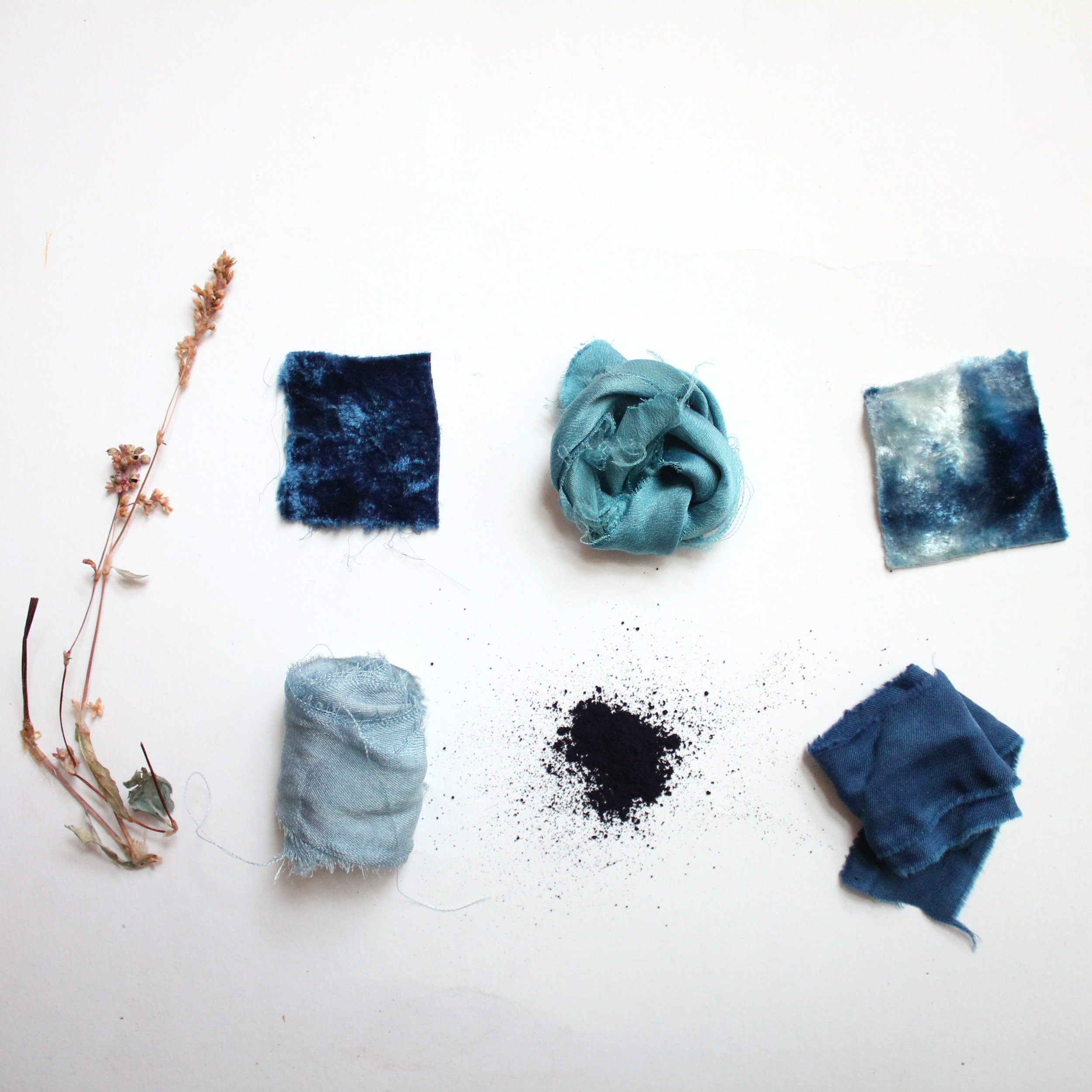 Indigo  Indigo dye comes from the leaf of the Indigo plant. It is unique from all other natural dyes for its color and the process by which the dye is prepared.