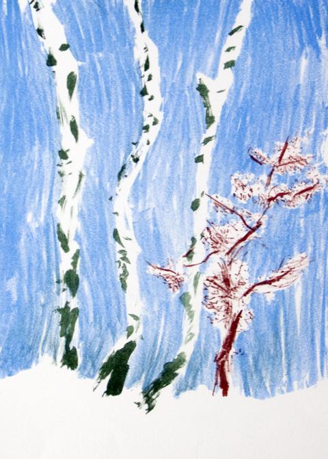 Three Birches  lithograph