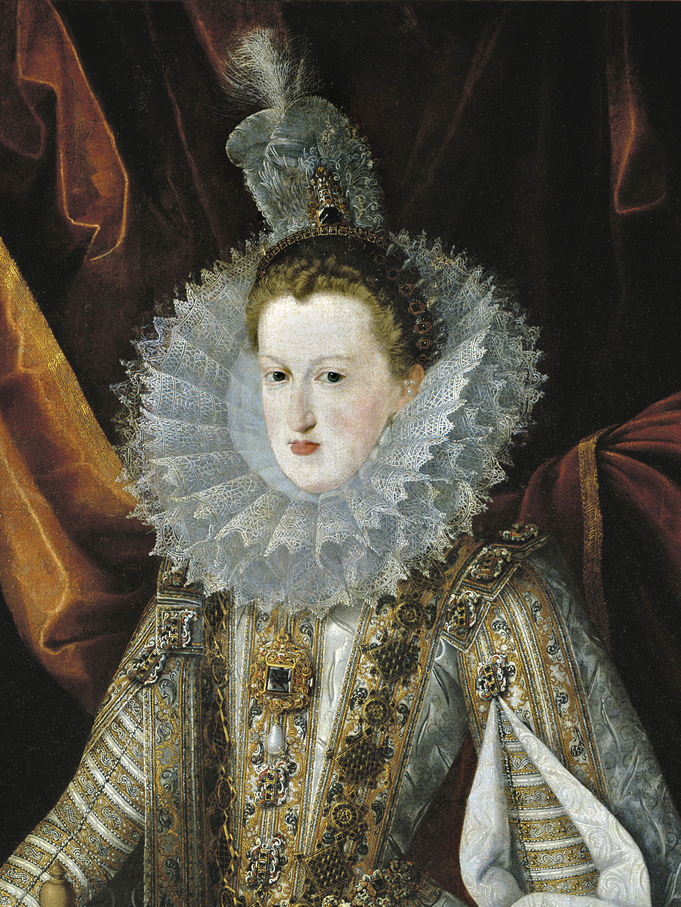 Margaret of Austria, Queen of Spain, wearing La Peregrina Pearl in about 1606