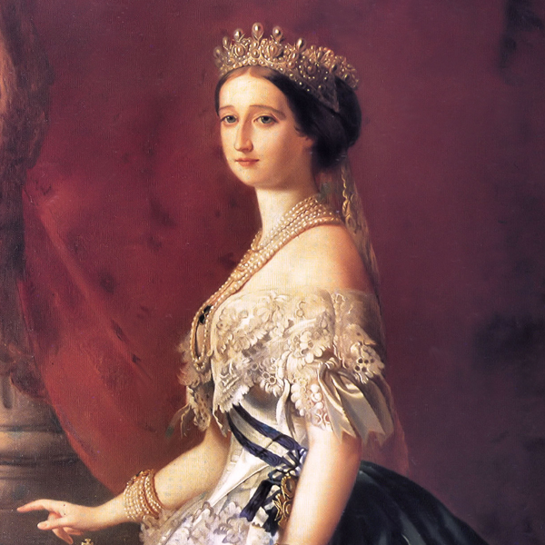 The Empress Eugenie wearing ropes of priceless pearls and her famous pearl and diamond tiara.  The tiara was sold by the Thurn und Taxis family in the 1990s and acquired by the Louvre.
