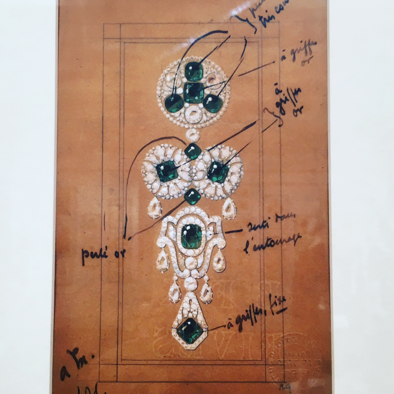 Working drawing by Bolin for an important emerald and diamond 'devant de corsage' recently exhibited at the Sotheby's 'Jewellery Drawings' exhibition.