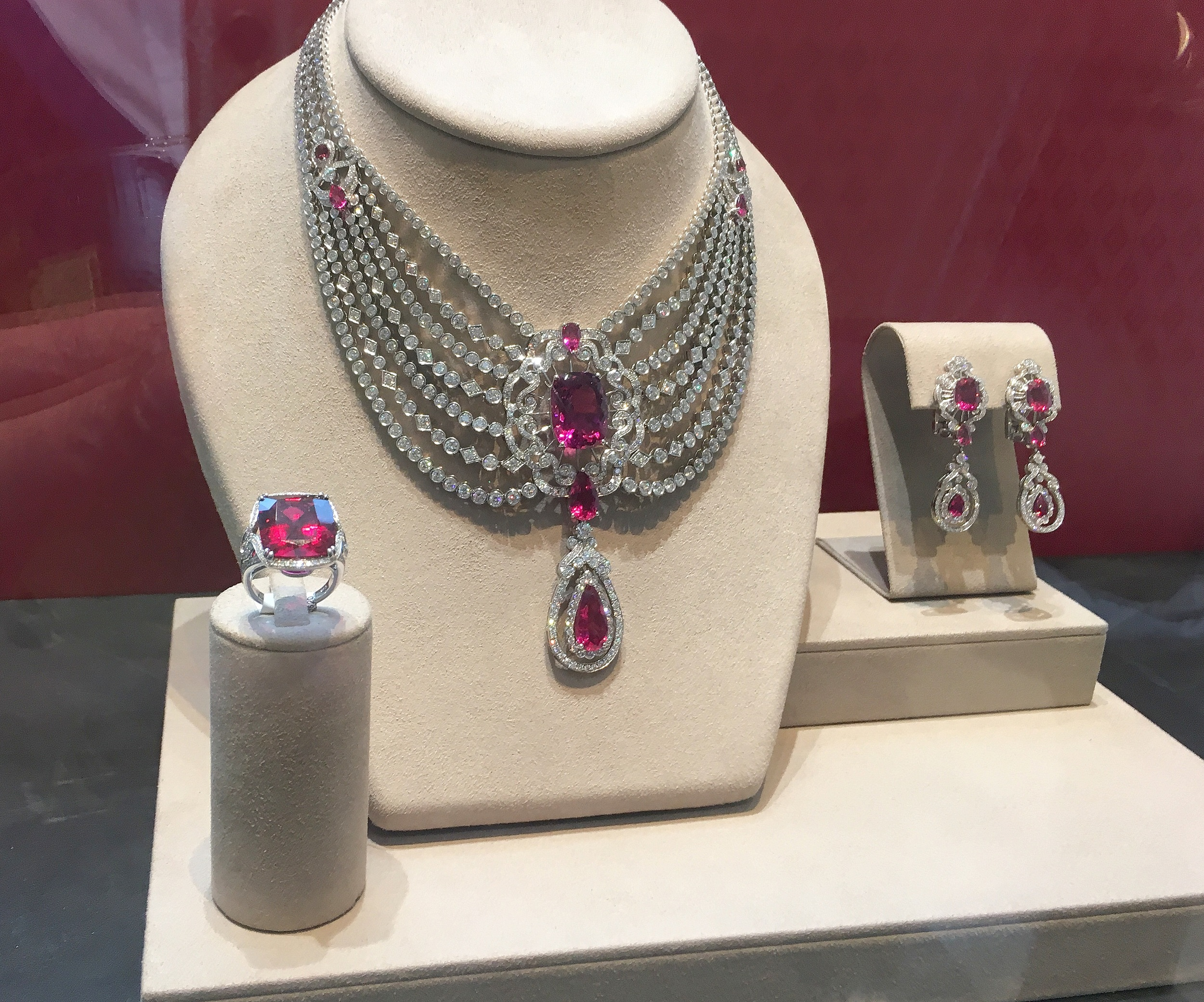 The Peony Suite in rubellites and diamonds.