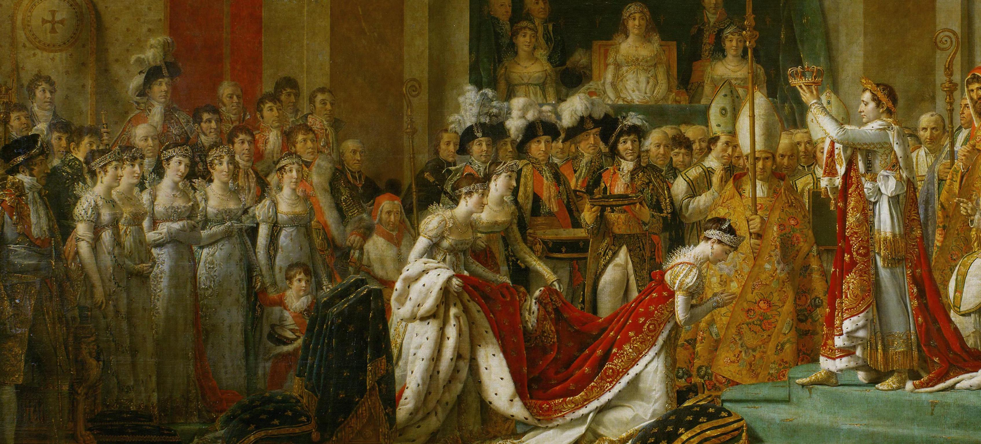 A detail of Napoleon crowning Josephine; note the lavish jewels of the Empress and the various ladies of the Court.