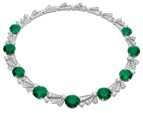 Bvlgari Colombian emerald and diamond necklace.