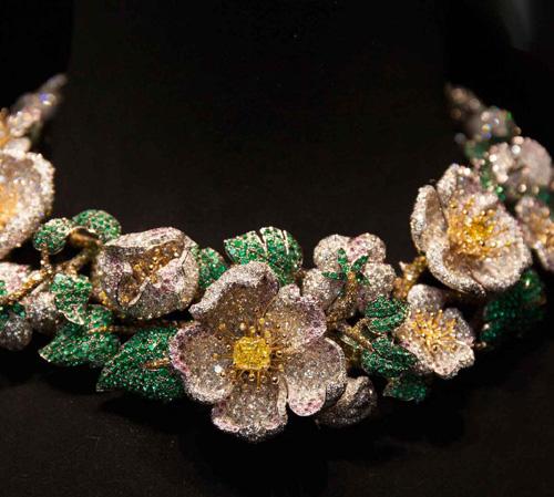 'Simonetta' necklace in multi coloured diamonds and emeralds.