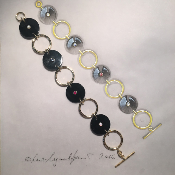 Gold and onyx bracelet by Luis Miguel Howard; each of the coloured stones is the birthstone of the recipient's grandchildren.