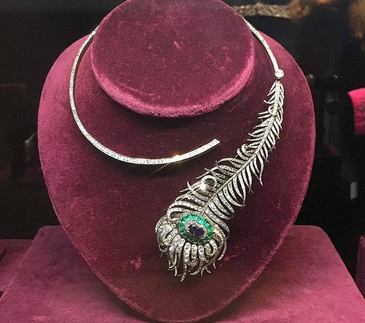 Diamond Sapphire and Emerald Peacock Feather Necklace by Boucheron
