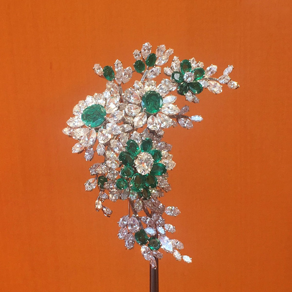 The emerald and diamond flower spray brooch.