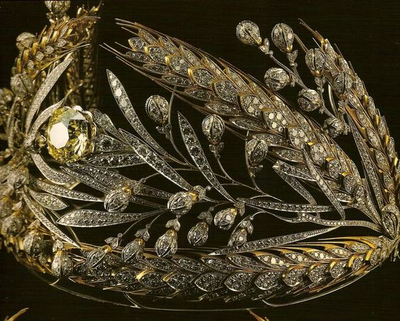 The wheat and laurel tiara of the Tsarina Maria Fedorovna of Russia.  The original was dismantled and this replica, now on show at the Kremlin Armoury Museum, was made by the Soviets.