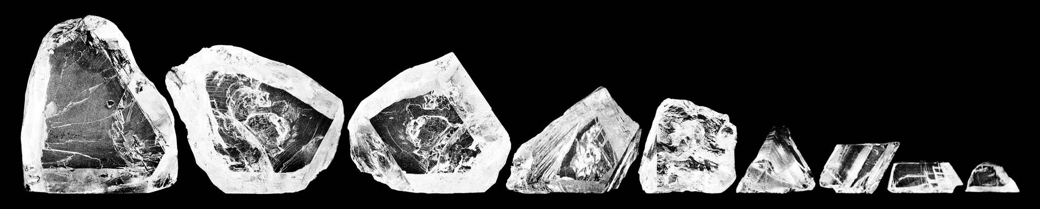 The nine main cleavings from the Cullinan diamond before they were faceted into gems.