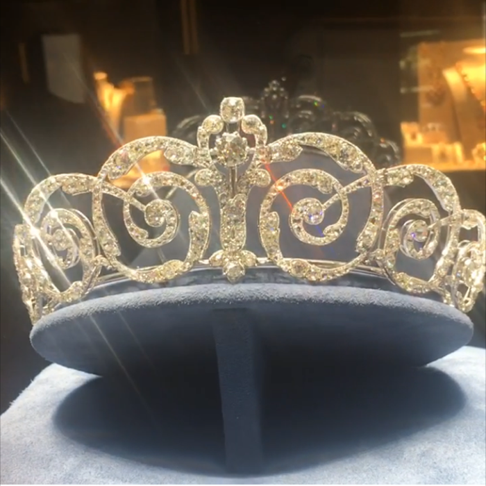 Belle Epoque beauty: Platinum and diamond tiara exhibited by Alain Pautot.