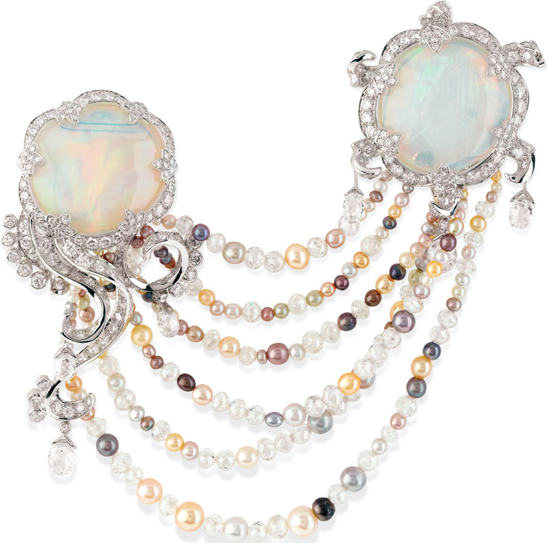 Meduse Lune brooch from the Atlantide Collection by Van Cleef and Arpels.  Executed in opals, diamonds and natural coloured pearls.