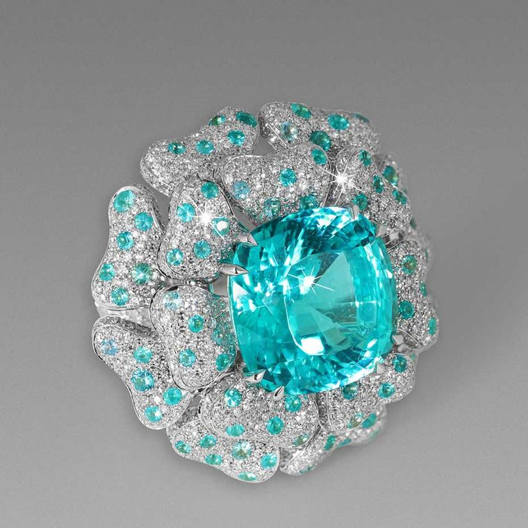 Paraiba Reef Ring by David Morris, set with a specimen from Mozambique.