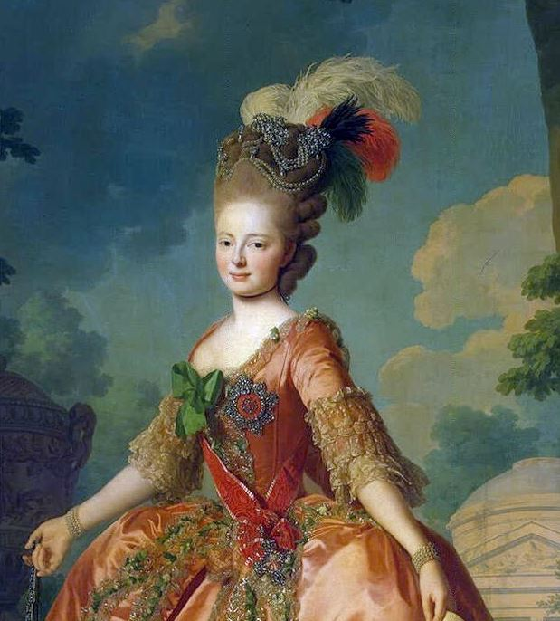 The Grand Duchess Maria Fedorovna in the 1780s. She wears an aigrette at the top of her hairstyle, which was inappropriate for a tiara.