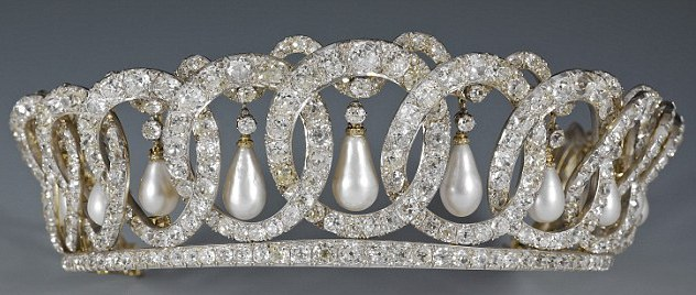 The Vladimir tiara hung with its original pearls.  It was completely reset in the late 1990s by Garrards onto a more resistant platinum frame.