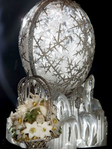 The 1913 Winter Egg by  Fabergé, given by Tsar Nicholas II to his mother the Empress Marie.