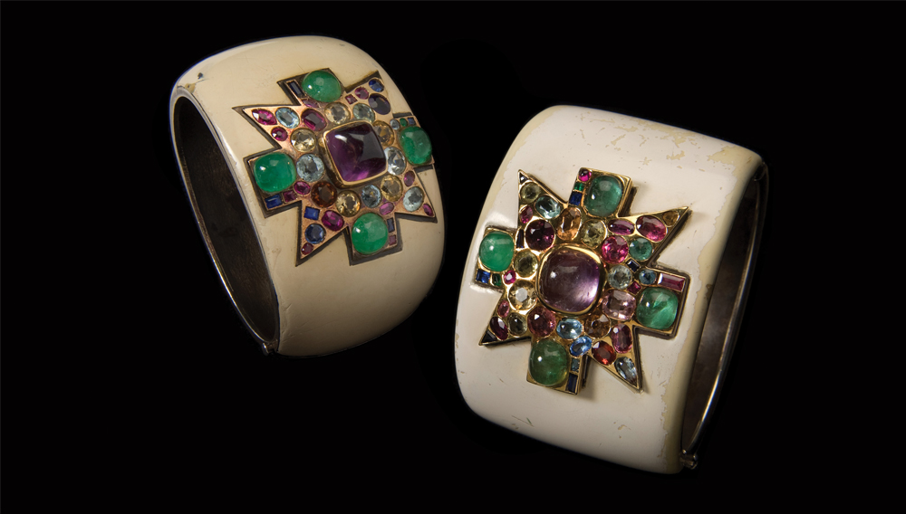 The famous paste cuffs Fulco di Verdura created for Coco Chanel. She embraced costume jewellery and made it acceptable, fashionable and affordable.