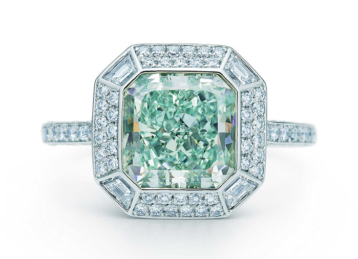 Ring set with a 3.15 carat bluish green diamond by Tiffany in their inimitably elegant style.