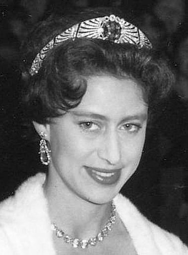 Rarely seen: Princess Margaret wears another Romanov heirloom, the sapphire and diamond bandeau bought from Empress Marie of Russia's estate.
