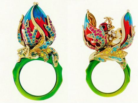 Milly Carnivore ring by Dior in coloured stones and enamel.