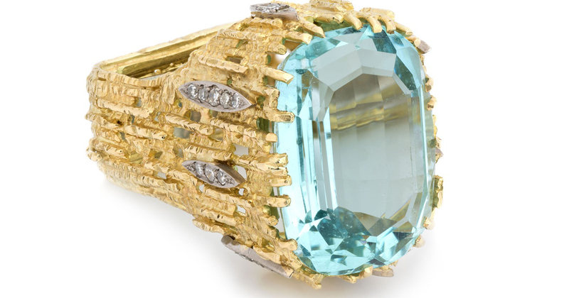 Aquamarine, gold and diamond ring by Andrew Grima. His style became all the rage in the 1960s.