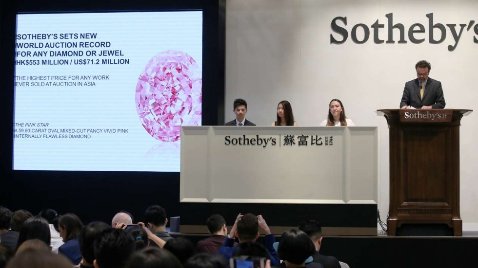 The hammer comes down on the Pink Star diamond at Sotheby's Hong Kong.