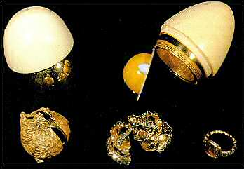 The 18th century gold and ivory egg in the Danish Royal Collection.
