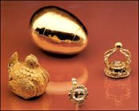 The late 17th century gold egg from the collection of Augustus the Strong of Saxony, which may have served as inspiration for the egg.