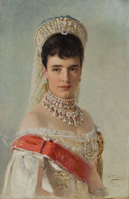 The Tsarina Maria Feodorovna in full Court dress in the mid 1880s, around the time she received her first Fabergé egg.