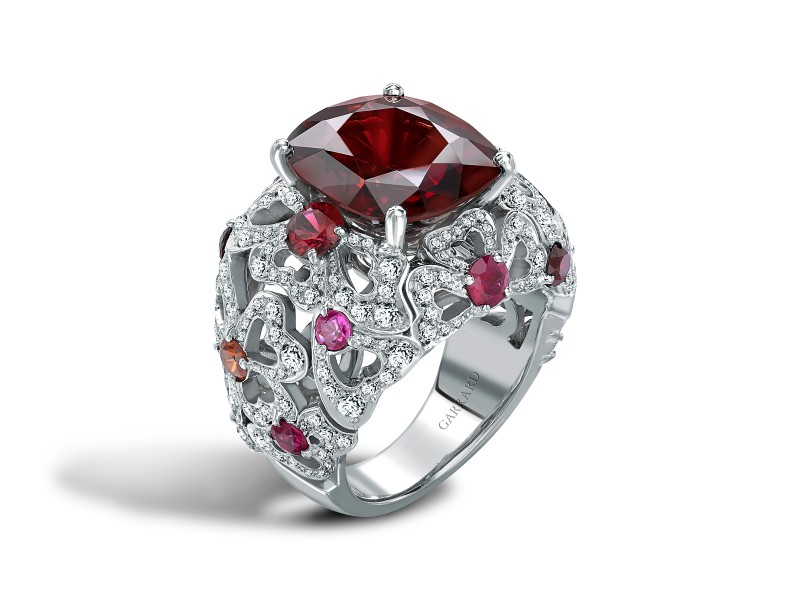 Red spinel, pink tourmaline and diamond ring by Garrard and Co.