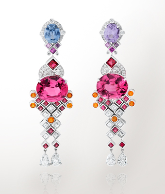 Pink and violet spinel earrings from Van Cleef and Arpels.