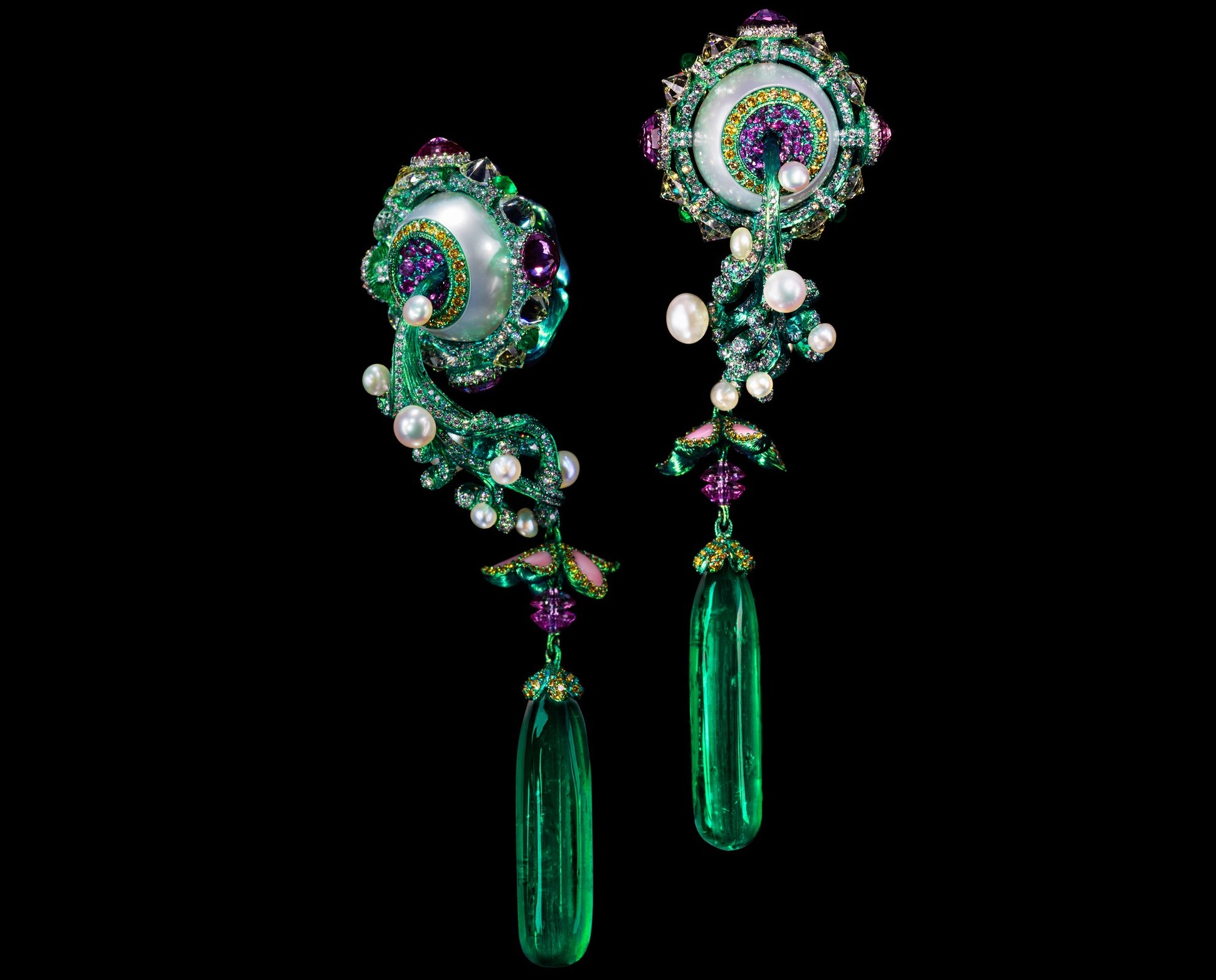 A pair of emerald,coloured diamond and conch pearl earrings by Wallace Chan.