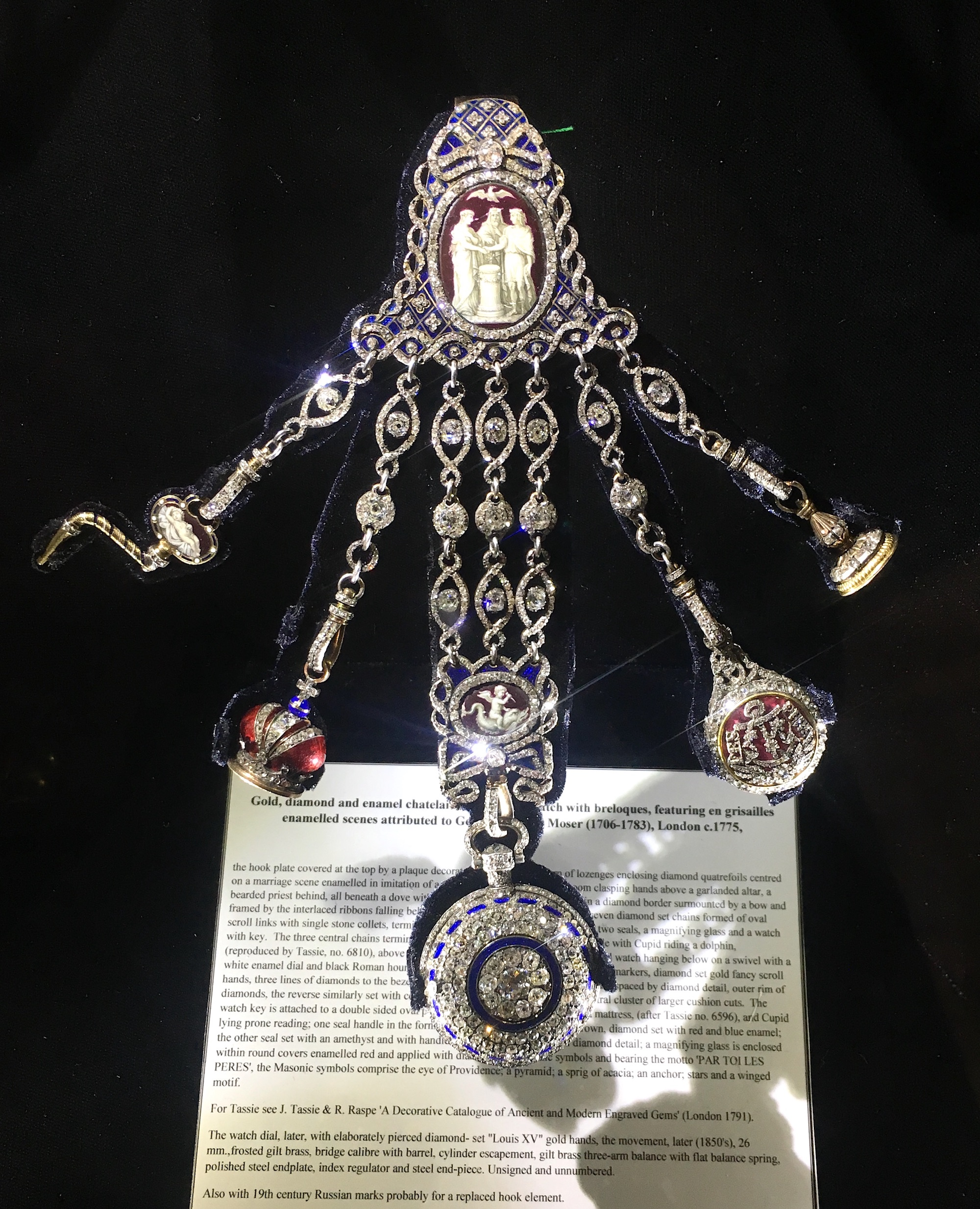 An impressive diamond chatelaine of Russian Imperial provenance exhibited by S.J. Phillips.