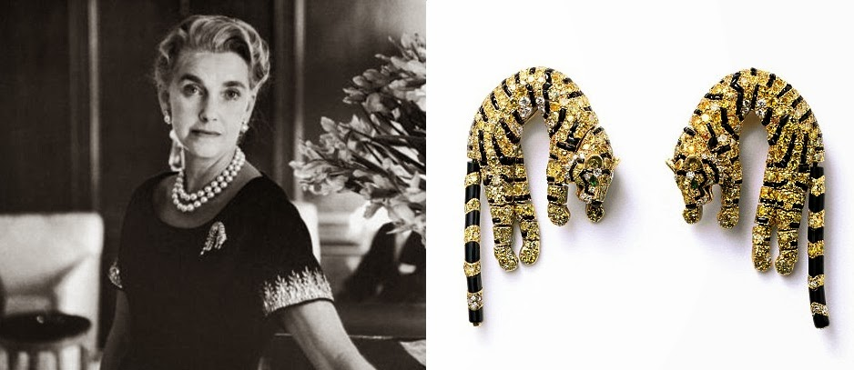 Barbara Hutton and the yellow diamond panther clips made for her by Cartier.
