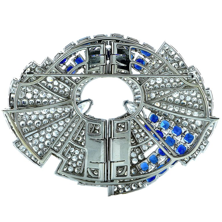 The reverse of an Art Deco brooch. Note how the openings for the stones on the reverse have been carefully filed into a neat honeycomb pattern.