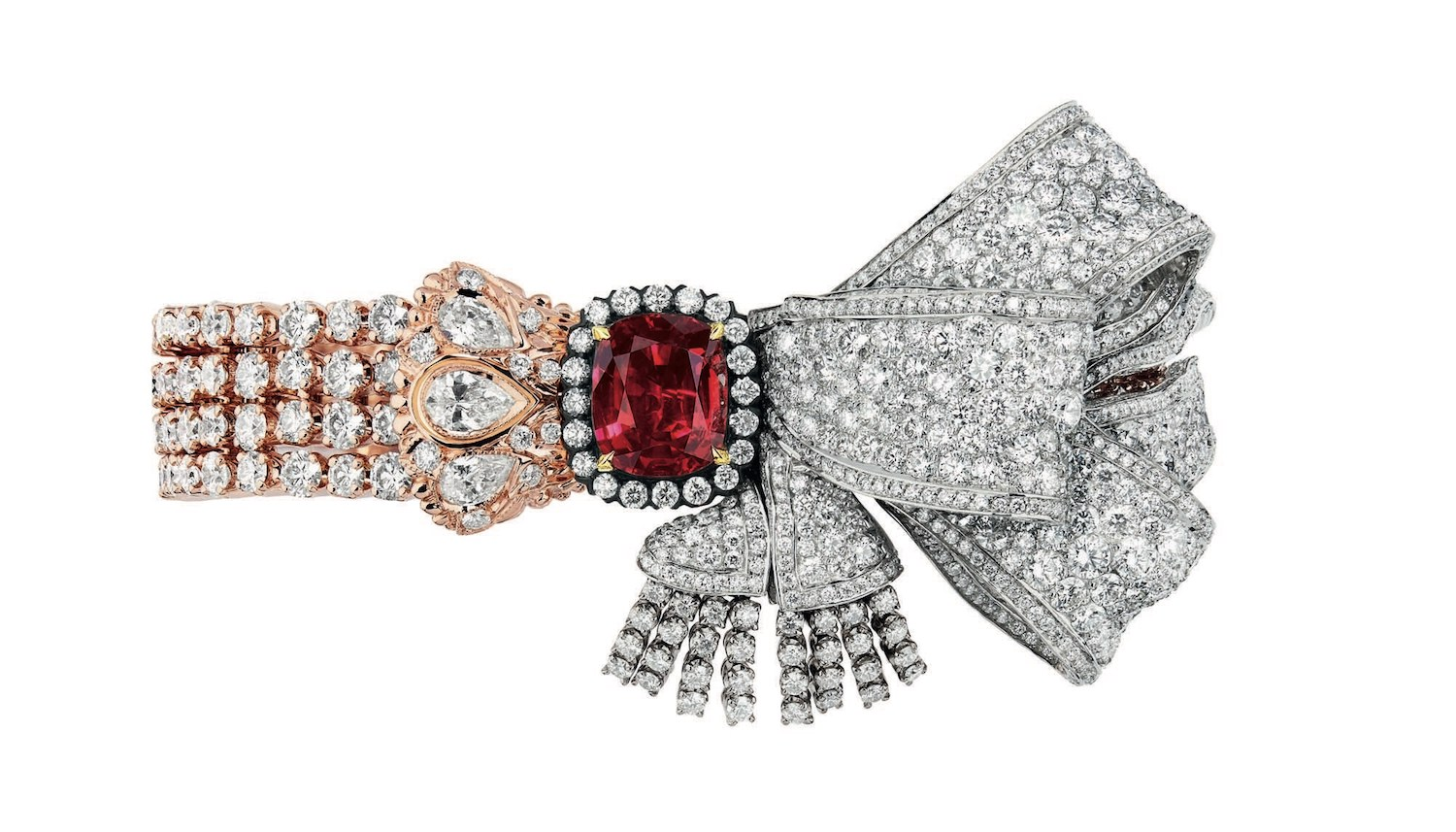 Salon de Mercure bracelet by Dior in rubies and diamonds.