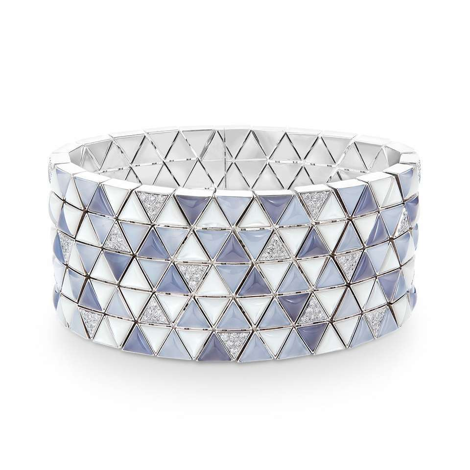 Marqueterie cuff bracelet by Boucheron in chalcedony, mother-of-pearl and diamonds.