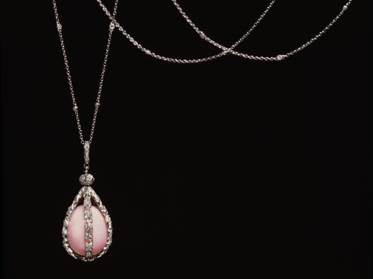 A conch pearl of great importance, a 23.50 carat specimen in a necklace made for the philanthropist Henry Walters by Tiffany and Co. in 1905.