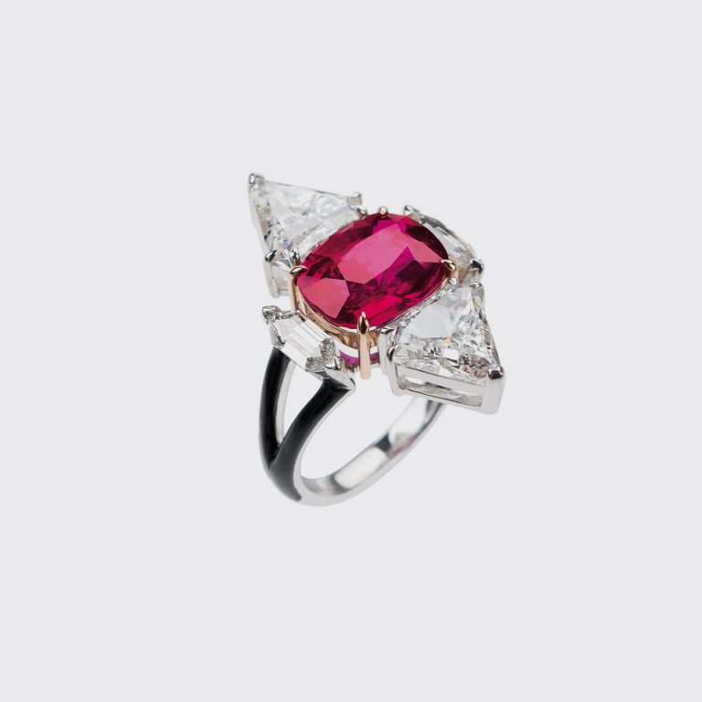 Ruby, diamond and black enamel ring by Nikos Koulis.