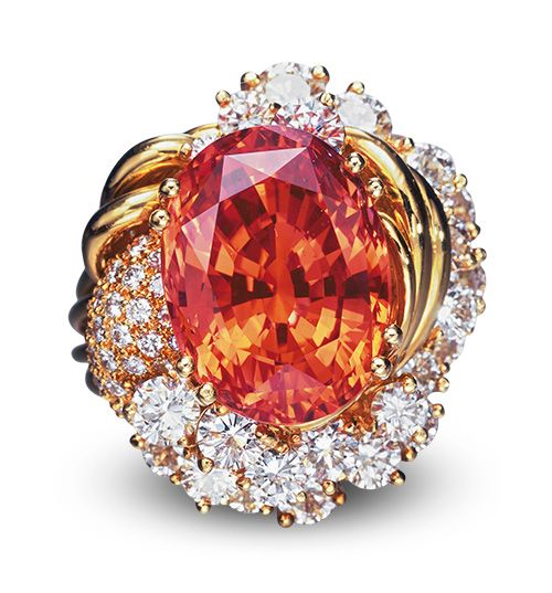 A record breaking stone: this padparadscha sapphire weighing 20.84 carats fetched over $375,000 at auction in 2005.