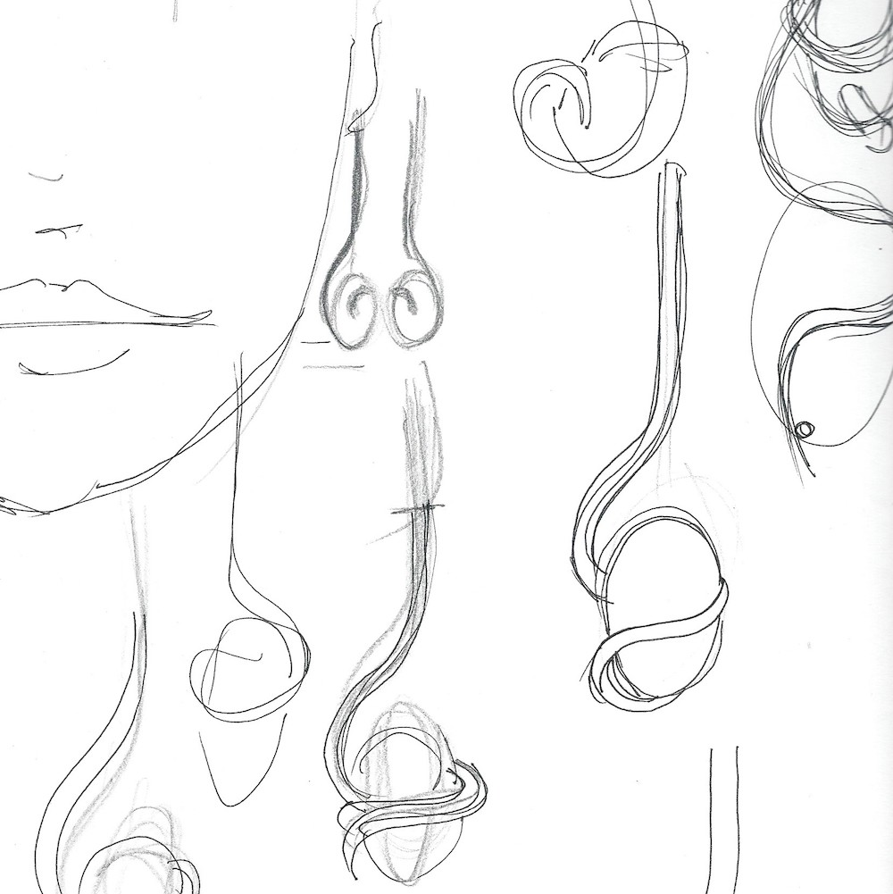 The very initial sketches for the chalcedony and diamond earrings.